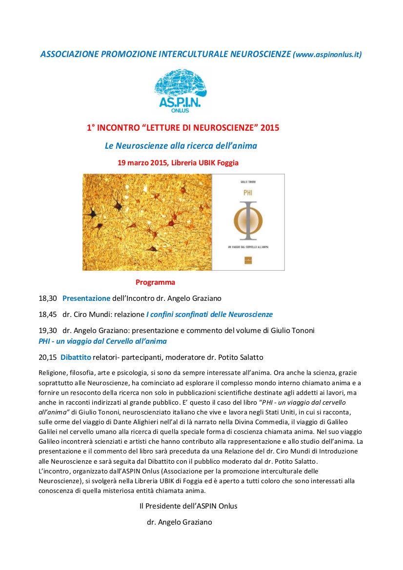 Letture di neuroscienze ubik foggia - Giulio iacchetti interno italiano ...
